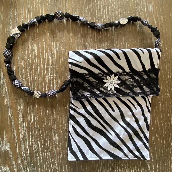 Black & White Satin Evening Bag